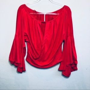 Free People Red Crop Top E1